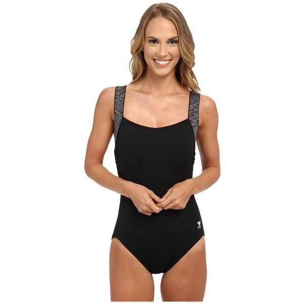 TYR Sonoma Square Neck Controlfit (Black) Women's Swimsuits One Piece ($80) ❤ liked on Polyvore featuring swimwear, one-piece swimsuits, colorblock bathing suit, full coverage bathing suits, 1 piece bathing suits and color block bathing suit