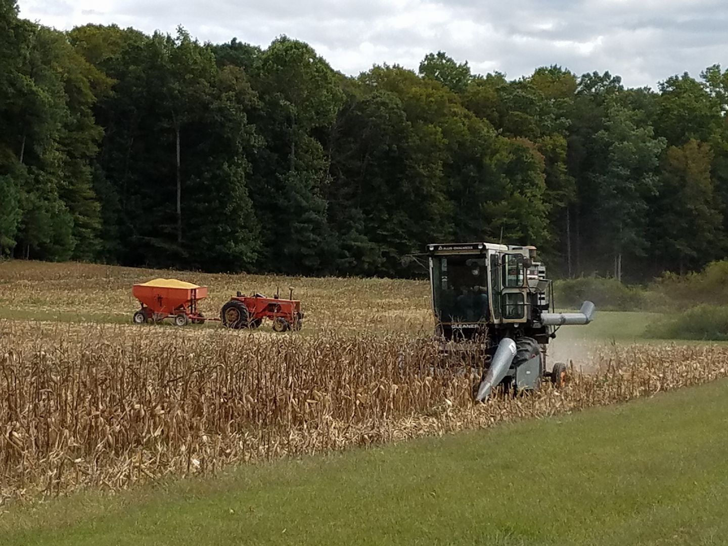 Gleaner K2 Combine Shelling Corn With An Allis Chalmers 185