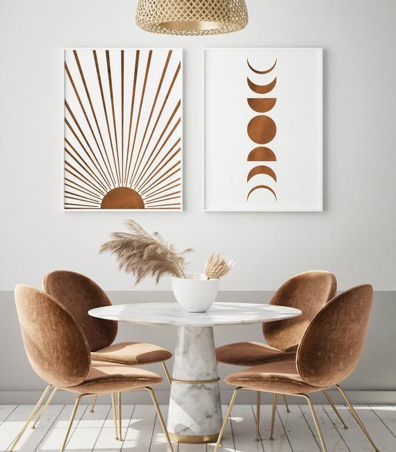 Sun and Moon Phases Art Print Boho Decor Set of 2,