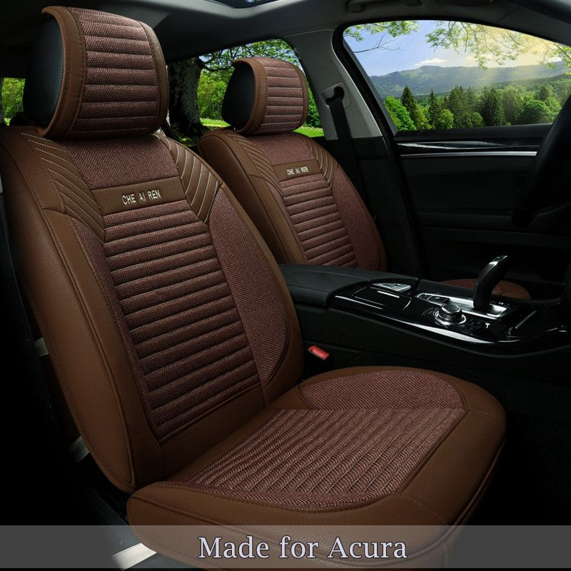 Linen Flax Leather Seat Covers For Acura ILX TLX RLX RDX