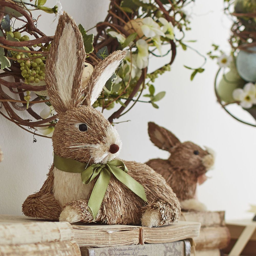Pier One Sisal Big Ears Bunny Easter Rabbit Bottlebrush Natural Grass Straw Pierone
