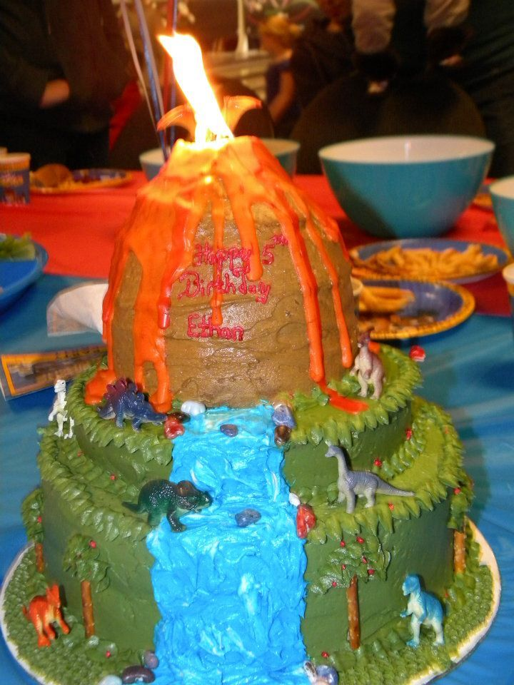 Volcano Dinosaur Cake We Put Candles That Had The Quick Paper Light And It Made Part Epic