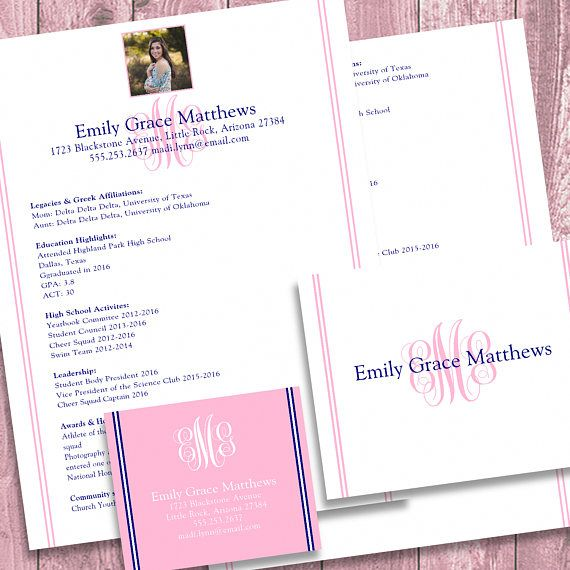 digital printable sorority recruitment packet with photo and resume added - Sorority Resume