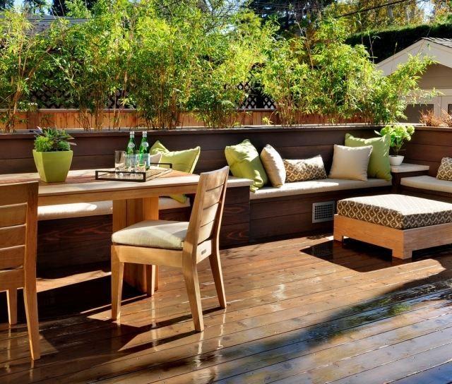 Balkon Sichtschutz Kasten Bambuspflanzen Holz Möbel Balkon