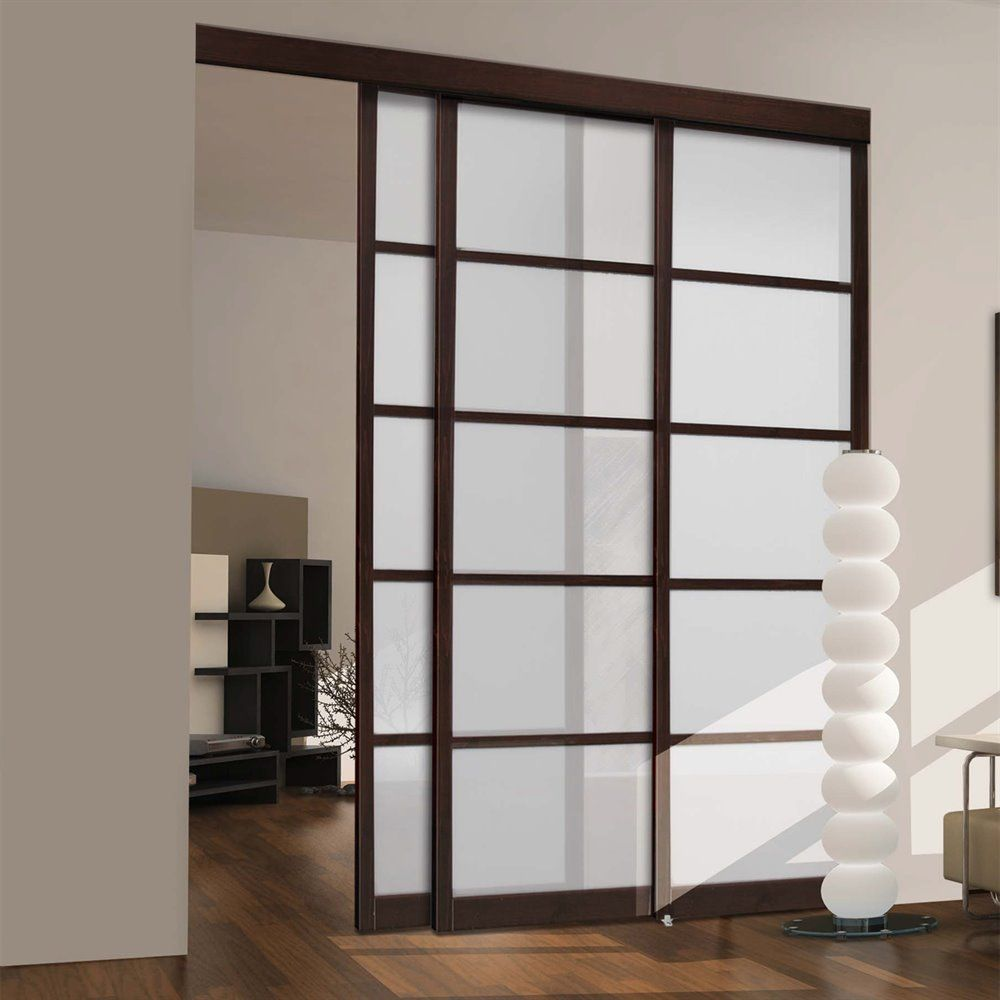 Shop Unbranded Espresso Frosted Glass Sliding Closet Door At Lowes