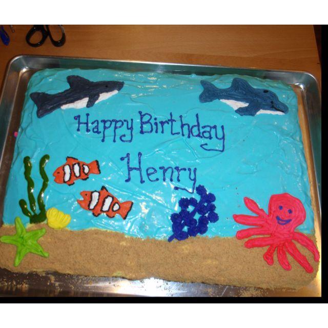Peachy Aquarium Birthday Cake Ocean Theme Party Birthday Crafts For Kids Funny Birthday Cards Online Necthendildamsfinfo