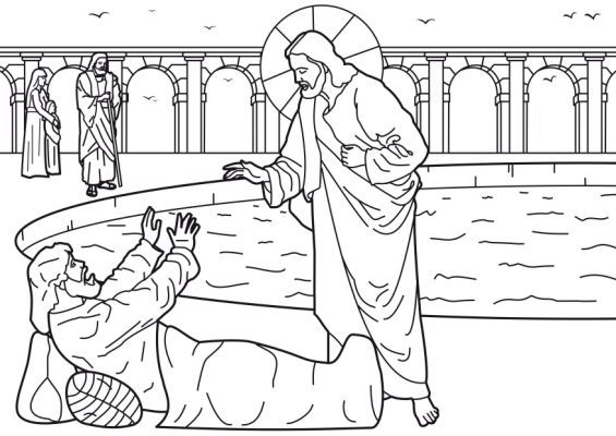 Healing Of The Man At The Pool Of Bethesda Bible Coloring Pages