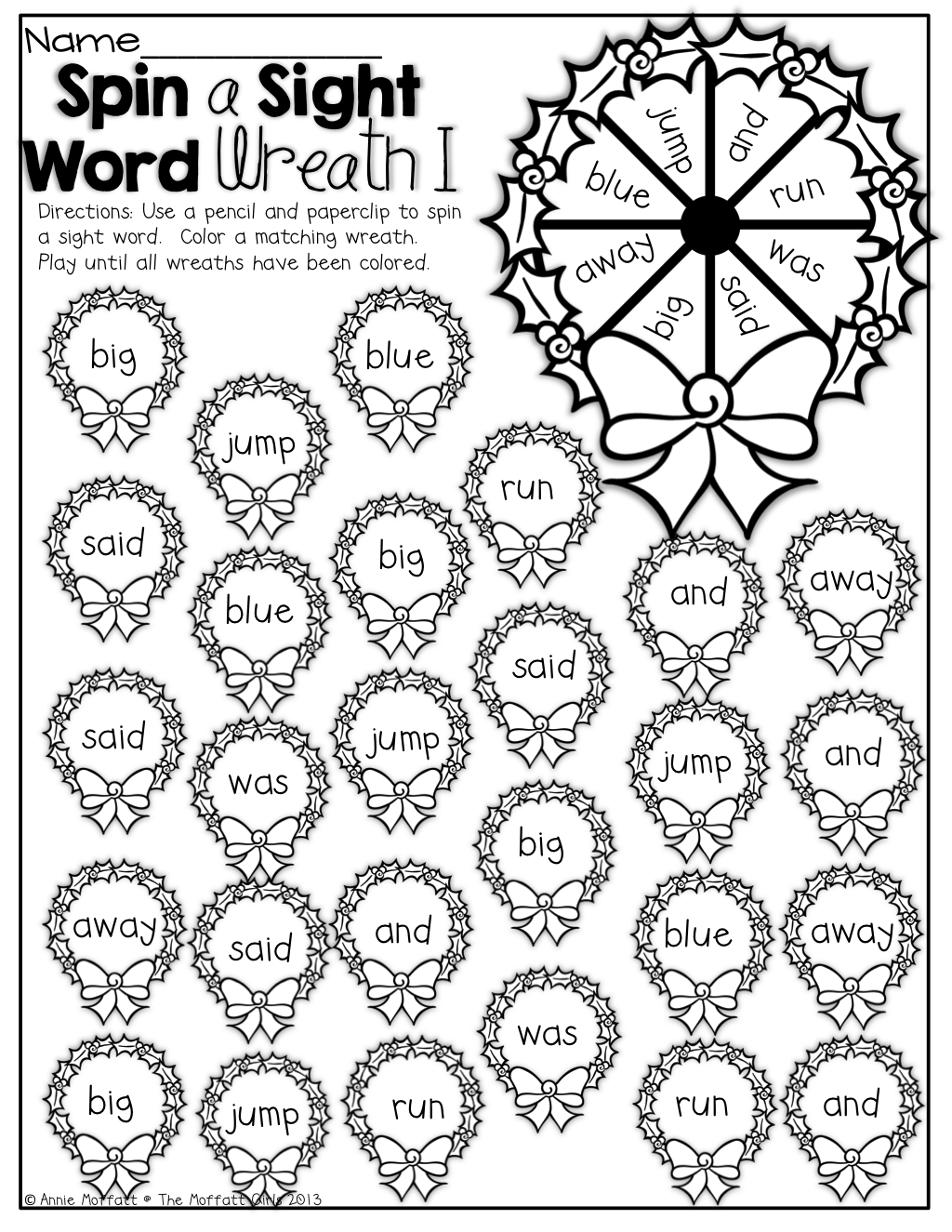 Spin A Sight Word With A Paperclip And Pencil And Color A