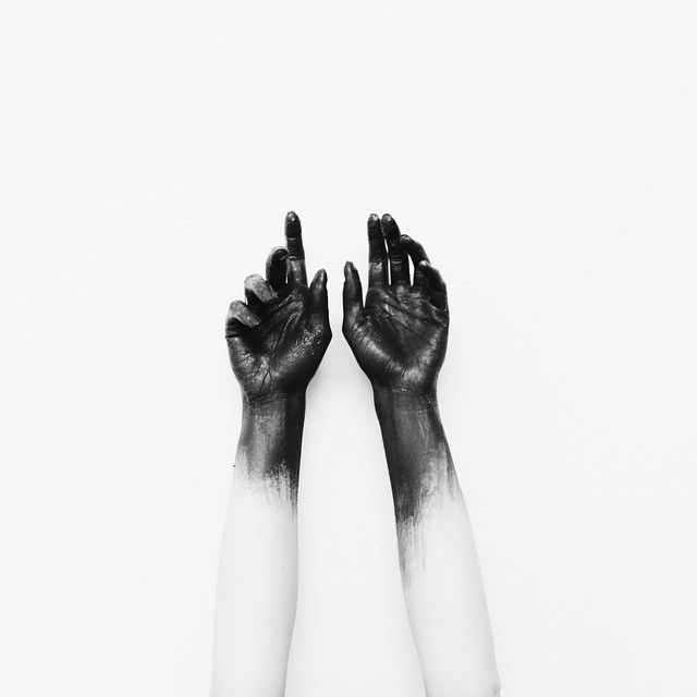 abstract black and white photography hands in the air photo