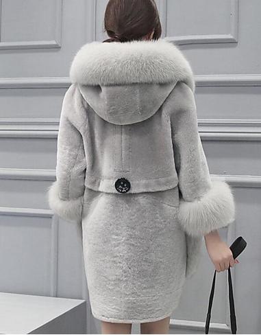 Casaco Com Capuz Feito Com Pêlo De Coelho Fur Coats Women Solid Clothes Shearling Coat