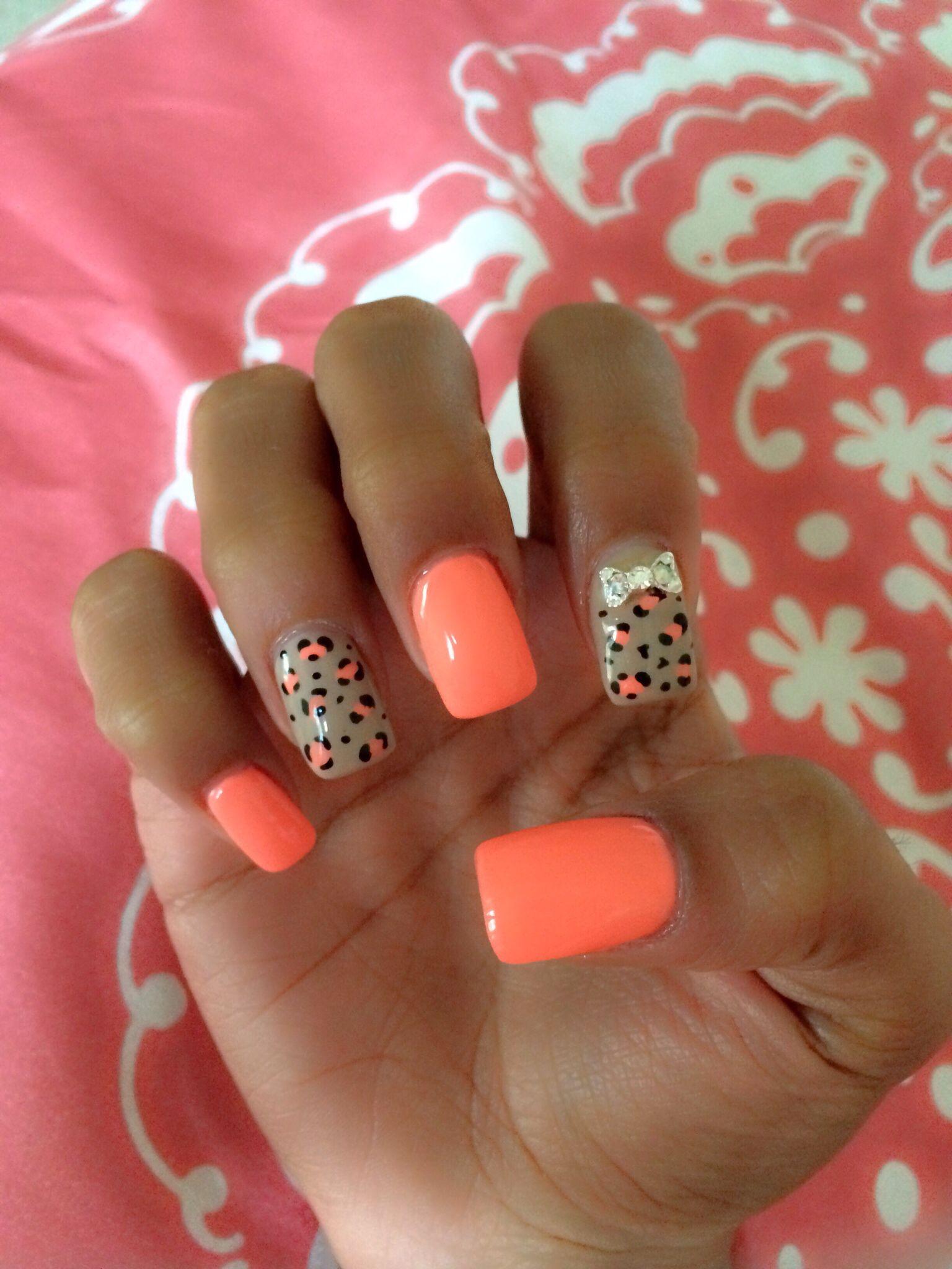 Coral and nude nails, cheetah print, bow bling, nails by Lynn | Nail ...