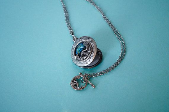 Mermaid Locket Necklace Aquatic Creature by SkeltonsTreasures