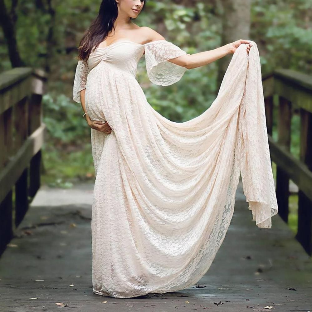 28682fa14248b Maternity Off Shoulder Lace Baby Shower Maxi Dress | Baby Shower ...