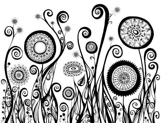 Black and White Art Print - Line Drawing of Five Circular Flowers ...