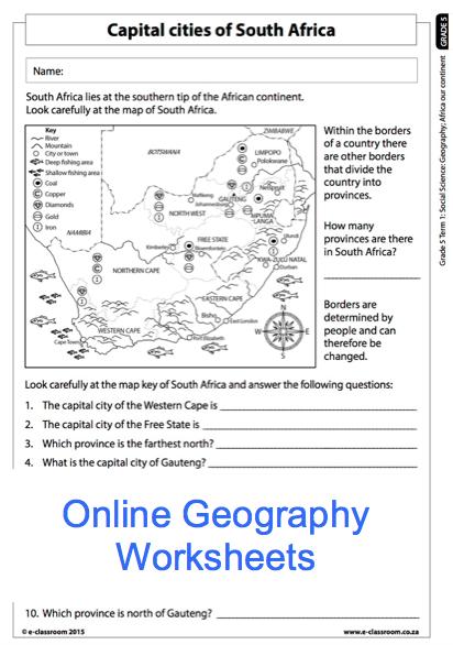 Image result for south africa worksheets on province for