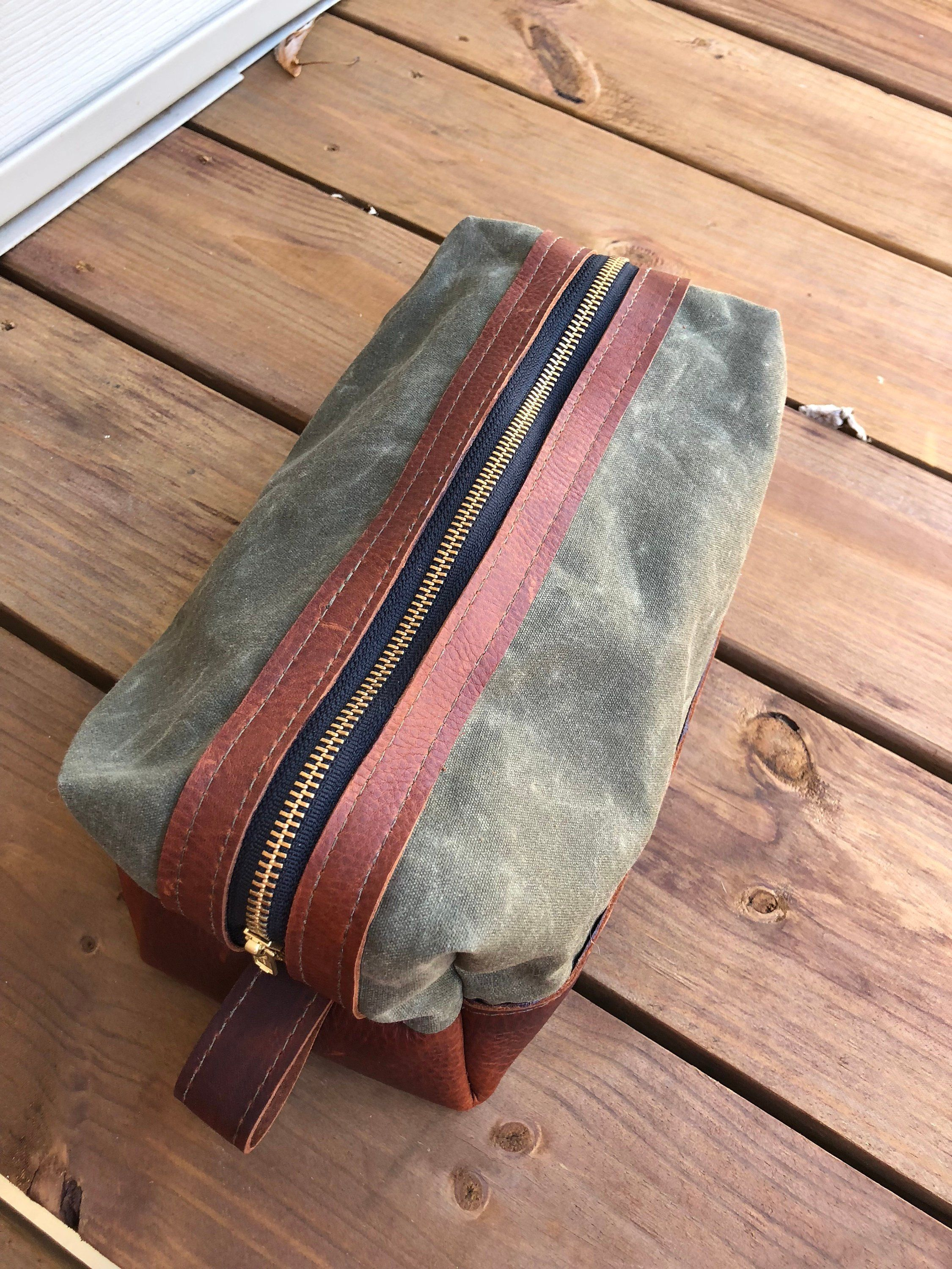 Leather Waxed Canvas Zippered Dopp Kit with Buffalo Plaid Ditty Bag  Toiletry Bag Mens Gift by ac8553ec764e1
