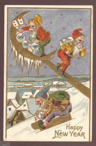 1909 Embossed Happy New Year Postcard Elf Elves Gnome Pixie | eBay--$10 buy it now by kdtrailantiques