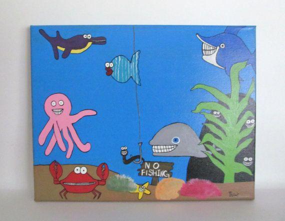 Kids Canvas Art Underwater Painting Playroom by ...