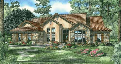 Delightful Tuscan Style House Plans   2075 Square Foot Home , 1 Story, 4 Bedroom And 3  Bath, 2 Garage Stalls By Monster House Plans   Plan 12 886 Nice Design