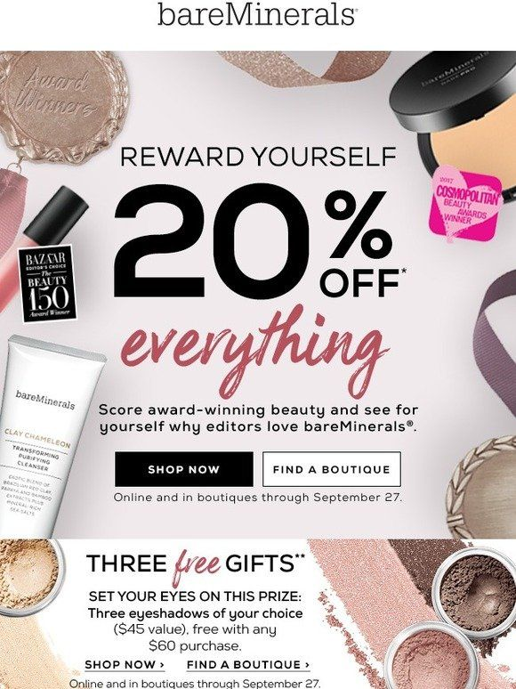 Today Everybody Wins With 20 Off Bareminerals Bareminerals 20 Off Third Gift