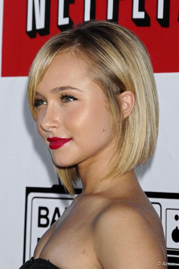 Hayden Panettiere With Her Hair Cut Short In A Hybrid Between A Bob