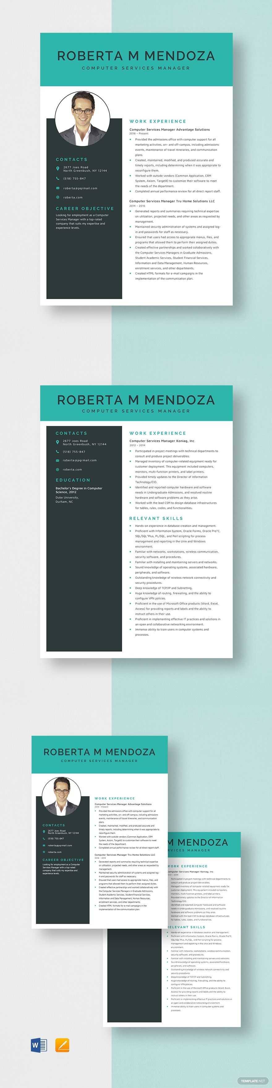 Computer service manager resume template ad paid