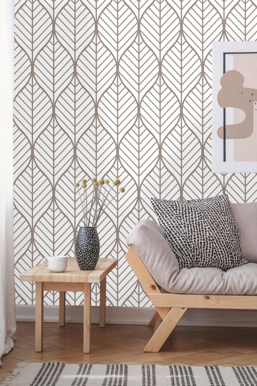 Removable Wallpaper Peel And Stick Geometric Wallpaper Self Adhesive Geometric Leaves Vintage Wallpaper In 2021 Geometric Wallpaper Removable Wallpaper Simple Decor