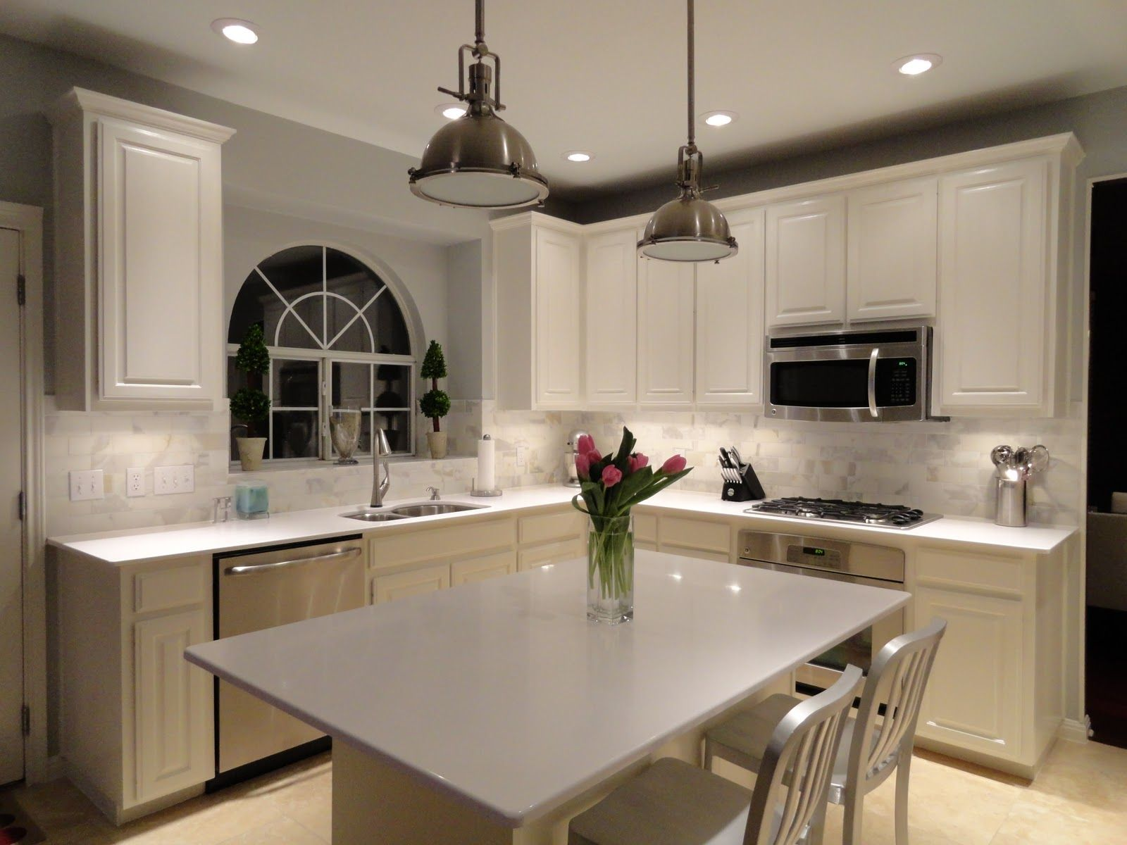 Modern Kitchen Quartz Countertops cygnus silestone on white cabinets | we had the cabinets painted