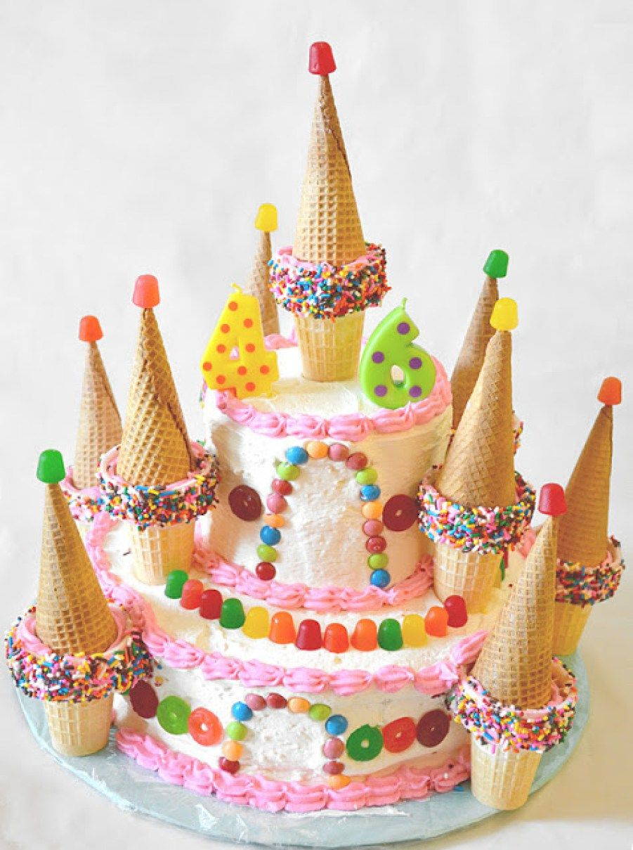 Candy Castle Cake Cake cone, Sugar cones and Sprinkles