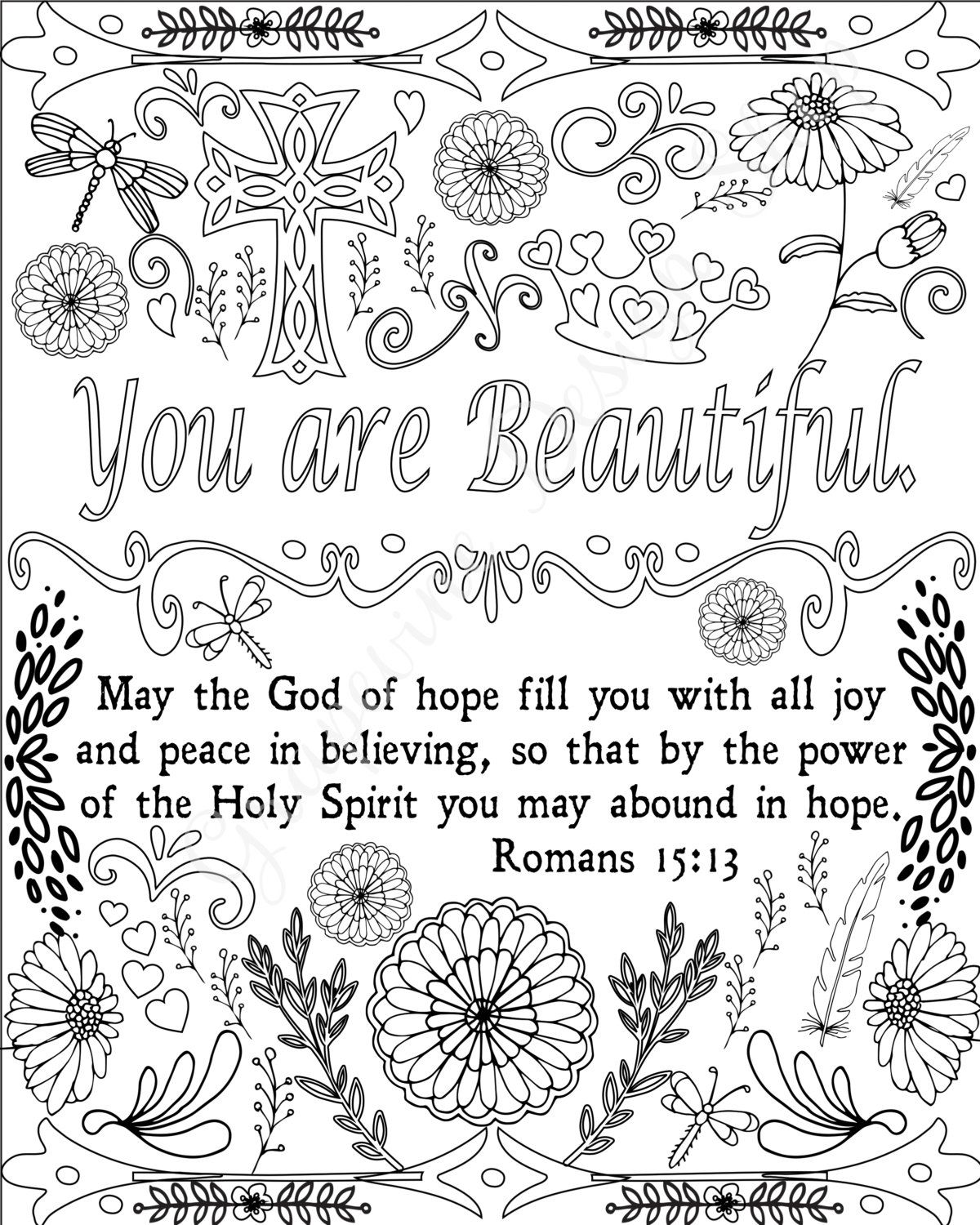Encouraging Words And Bible Verse Coloring Pages Set Of 5 Instant Download Printable Christian