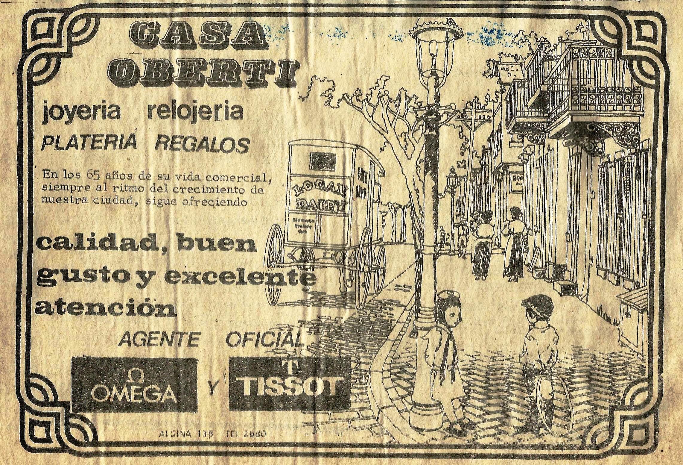 Mas de un siglo de platería y regalos en San Antonio de Areco. Publicidad de 1978.