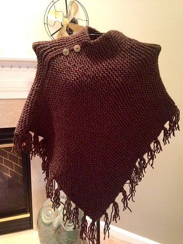 Loom Knit Fringed Poncho pattern by Lion Brand Yarn #loomknitting