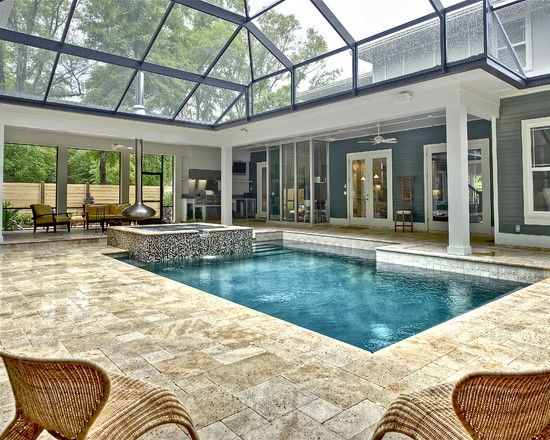 Screened lanai pool outdoor fireplace design pictures for Pool with fireplace