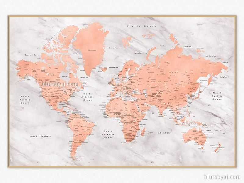 Rose gold and marble world map print with cities, \