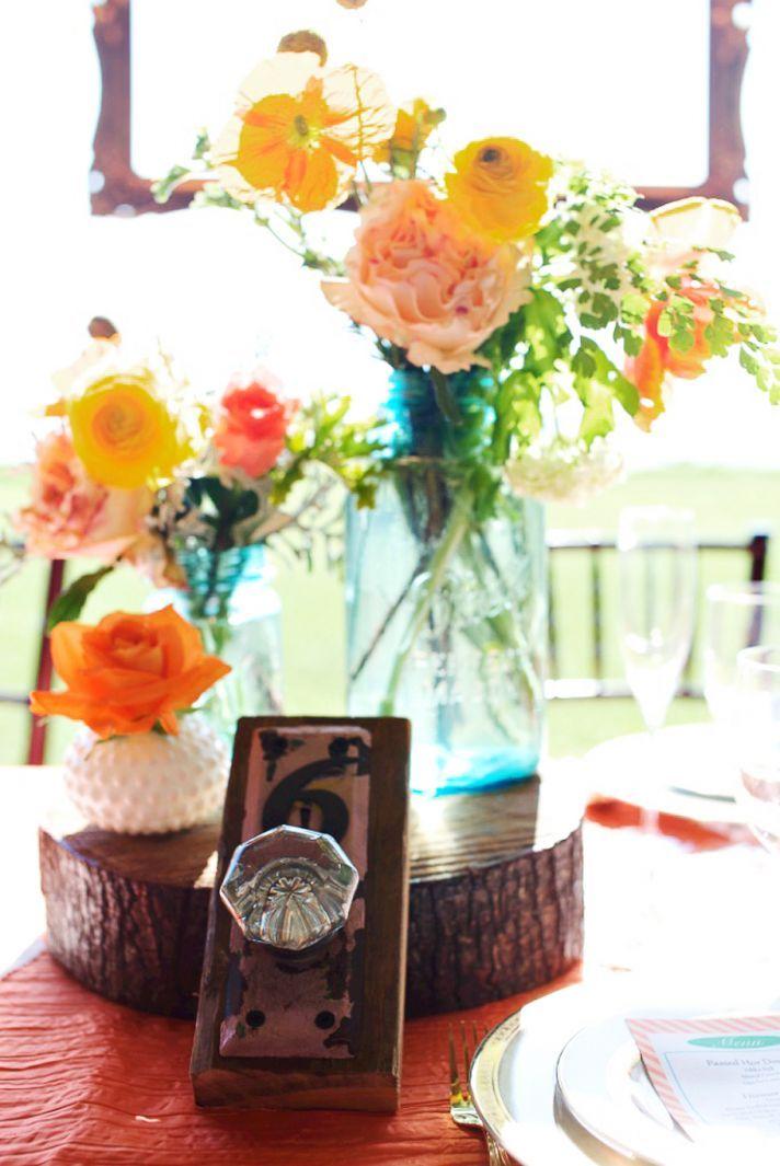 Masonjarscenterpiecesforwedding | rustic citrus wedding ...