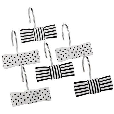 Mainstays Black And White Shower Curtain Hooks Walmart Com