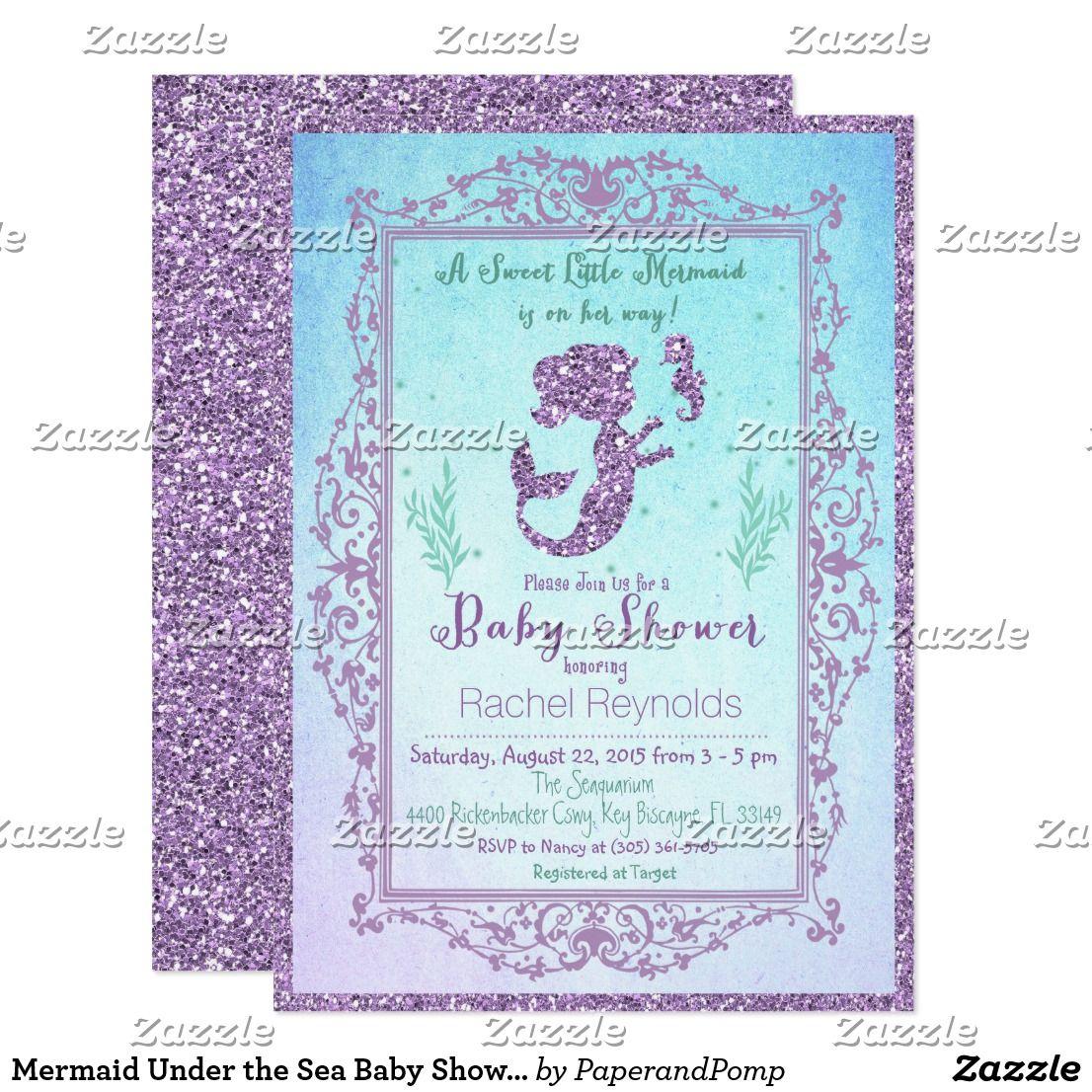 Mermaid under the sea baby shower invitation invitations