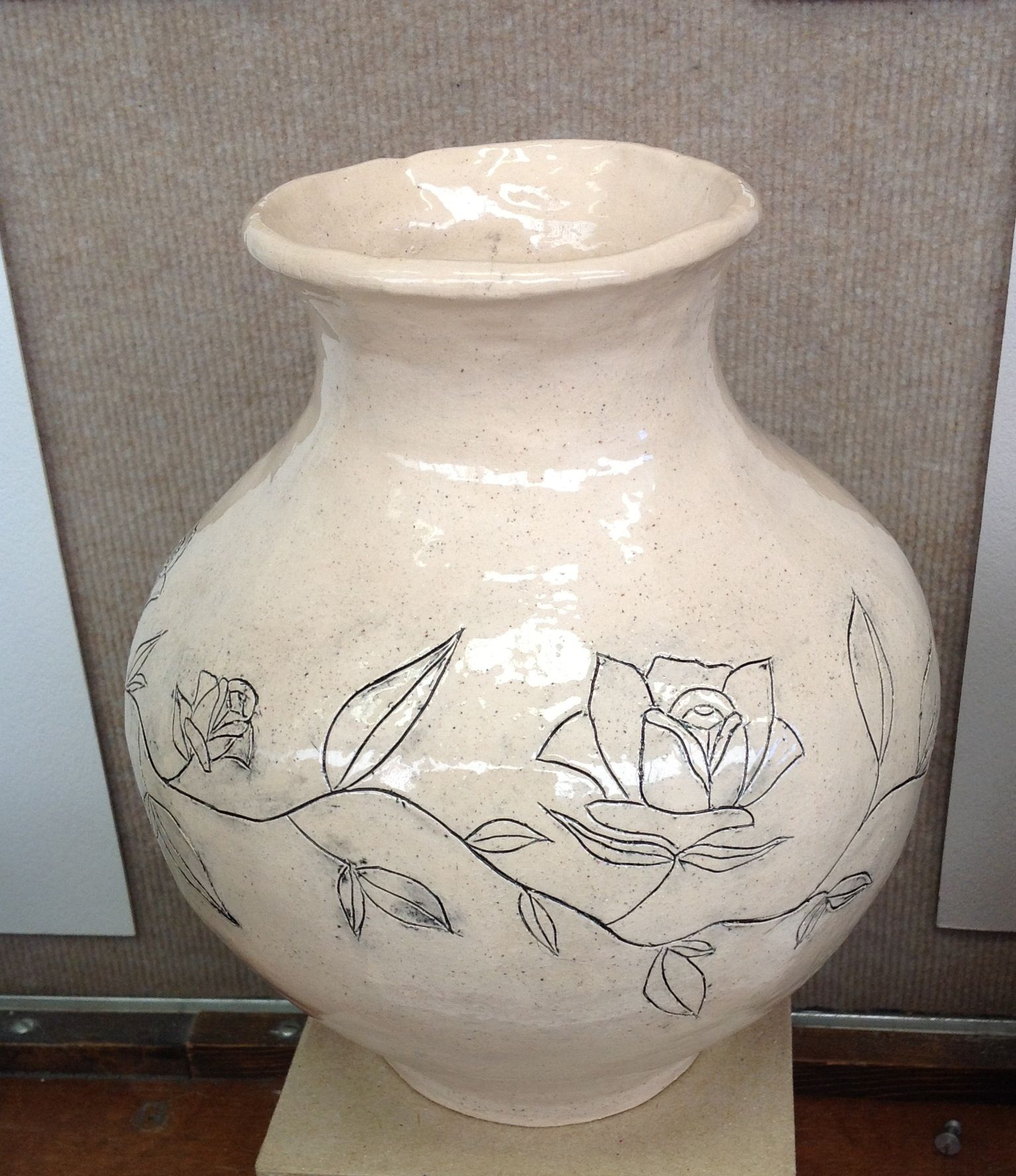 Coil built large vase with mishima surface design high for Pottery vase ideas
