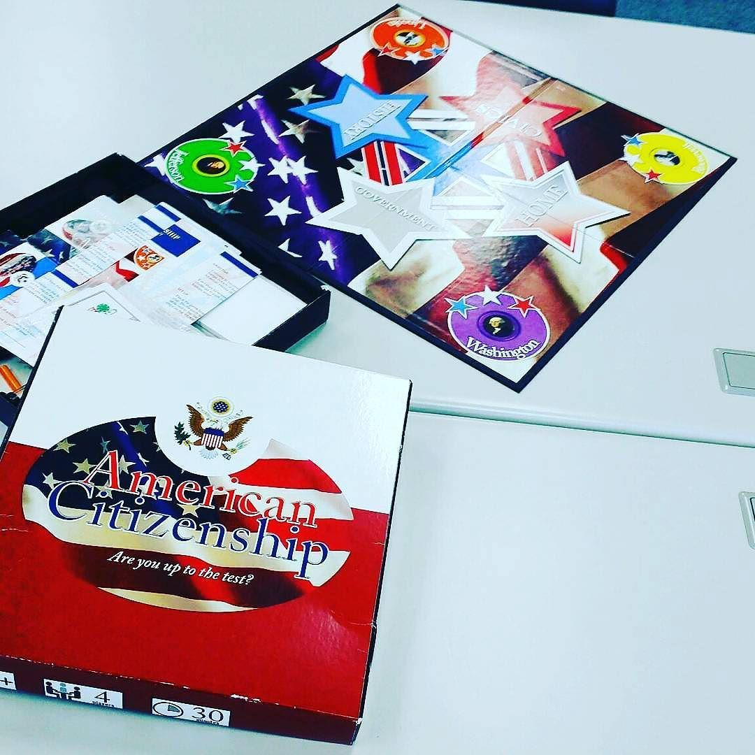 My #boardgame designed to help prepare for the interview exam of the US naturalization process being used today in my #gamesforchange and #games4learning course at our uni. #linkedin #gamecraft #readyteacherone #ARientation http://ift.tt/1gIR0Ke