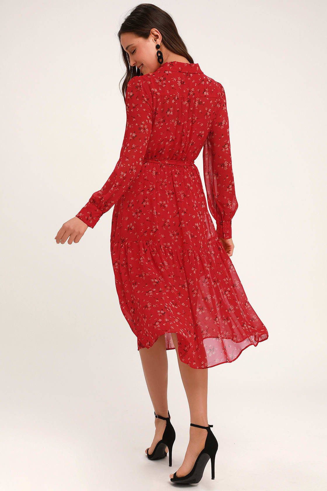 Flirt Fest Red Floral Print Long Sleeve Midi Dress Women Dress Online Long Sleeve Midi Dress Red Floral Print Dress [ 1680 x 1120 Pixel ]