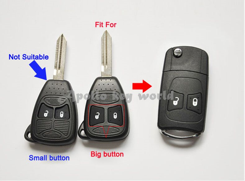2 Buttons Replacement Modified Flip Remote Key Shell Case For