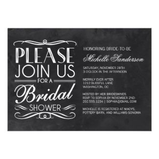 Vintage Chalkboard Bridal Shower Custom Announcements