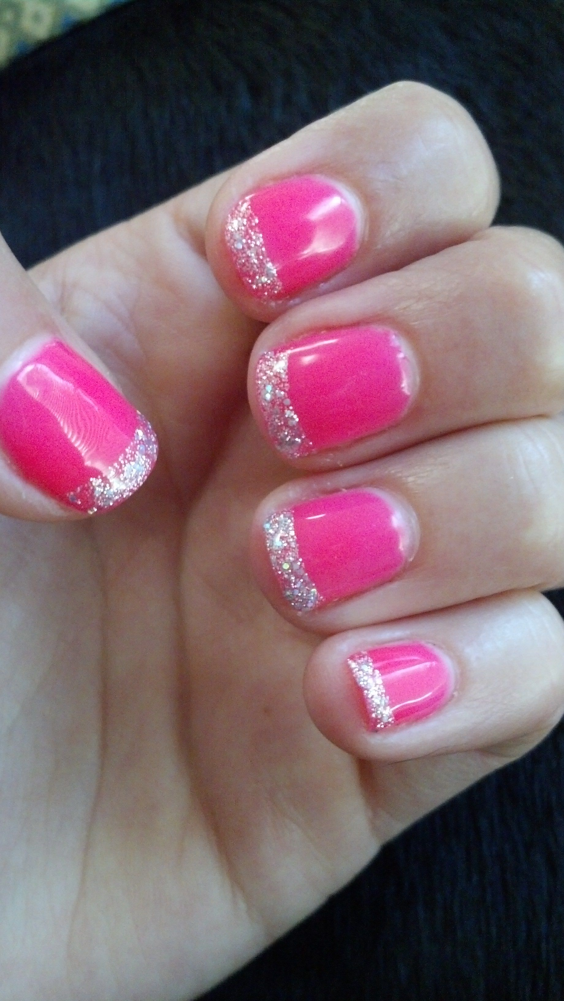 Neon pink gel manicure with glitter tips | Hair and make up ...