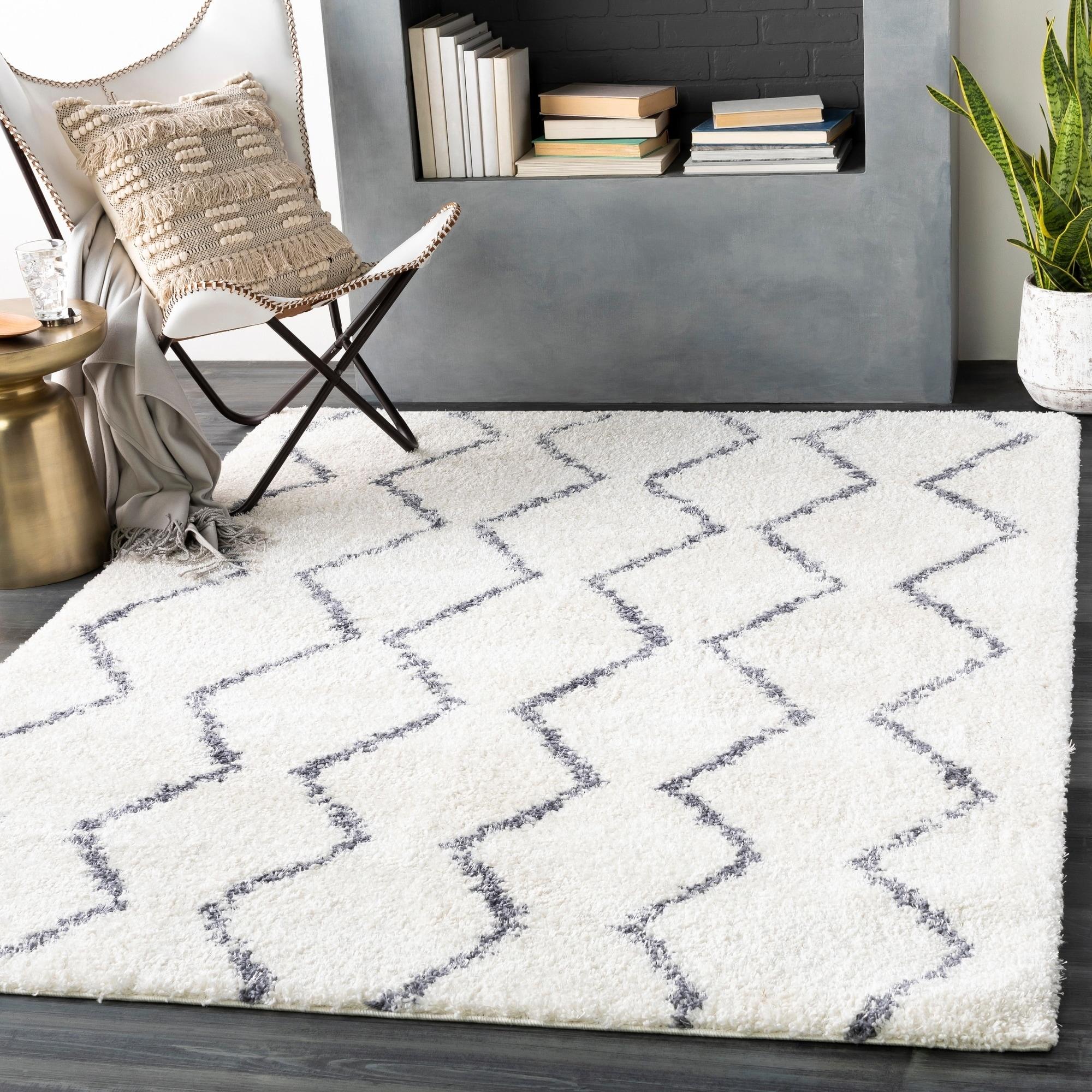 Hakima Moroccan Trellis Shag Area Rug White 2 X 3 Gray Rugs Area Rugs Beige Carpet