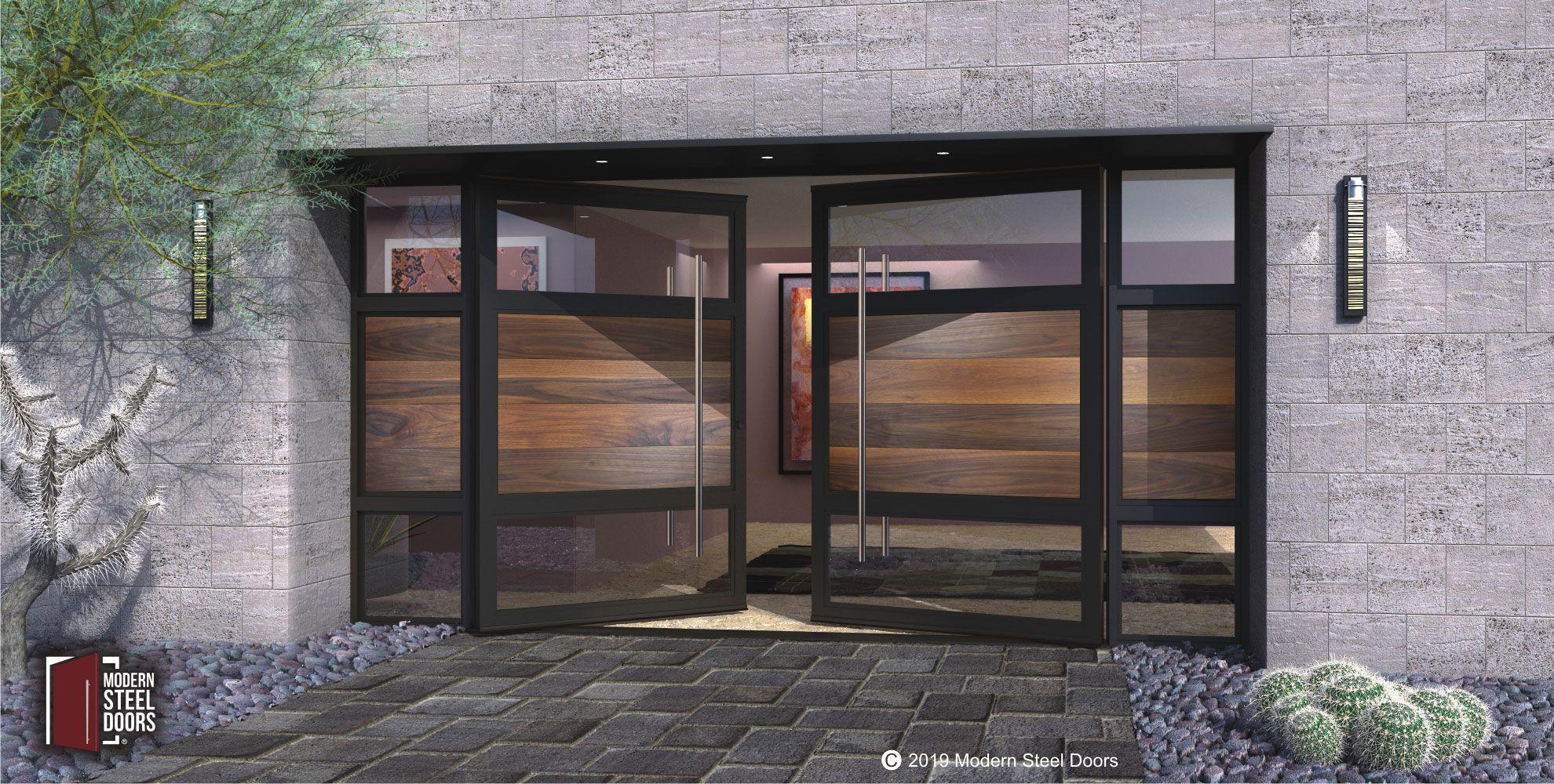 Double Metal Doors Commercial Exterior