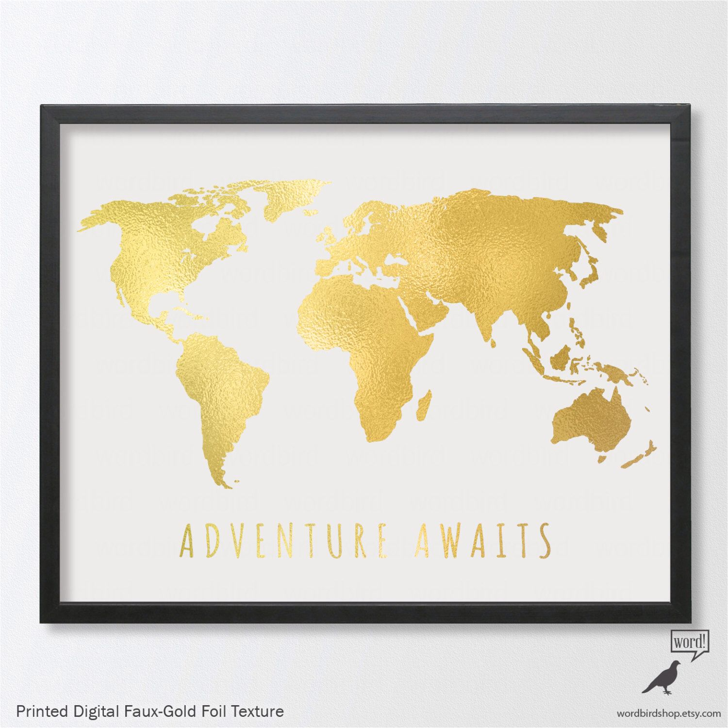 Gold Large World Map up to 24x36, Adventure Awaits, Digital Gold ...