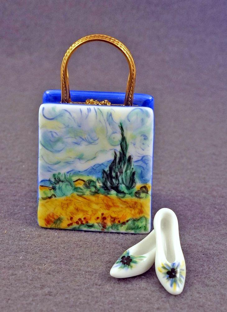 ART FRENCH LIMOGES BOX PURSE HAND BAG VAN GOGH Wheat Field w Cypresses & PUMPS #Limogesbox
