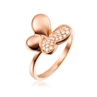 Bague Argent 925 Argent Plaque Or Rose Forme Papillon Asymetrique Sertissage De Zirconia Blanc Gemstone Bracelet Gemstones Heart Ring