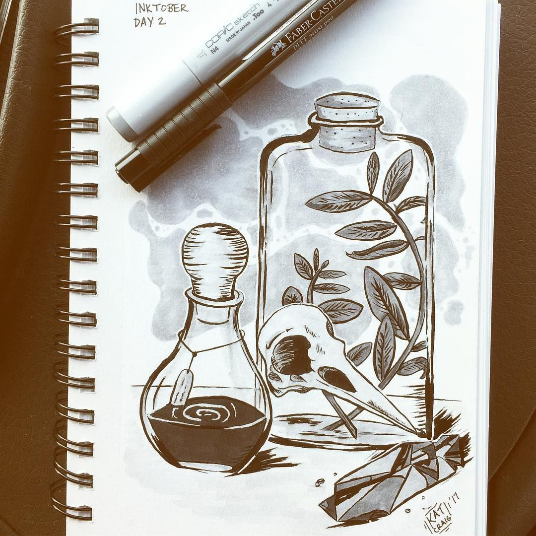 Inktober Day 2 Potions I went with winklebeebee 's