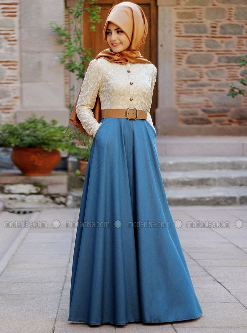 Laced dress jeans blue dresses modanisa jilbaab pinterest